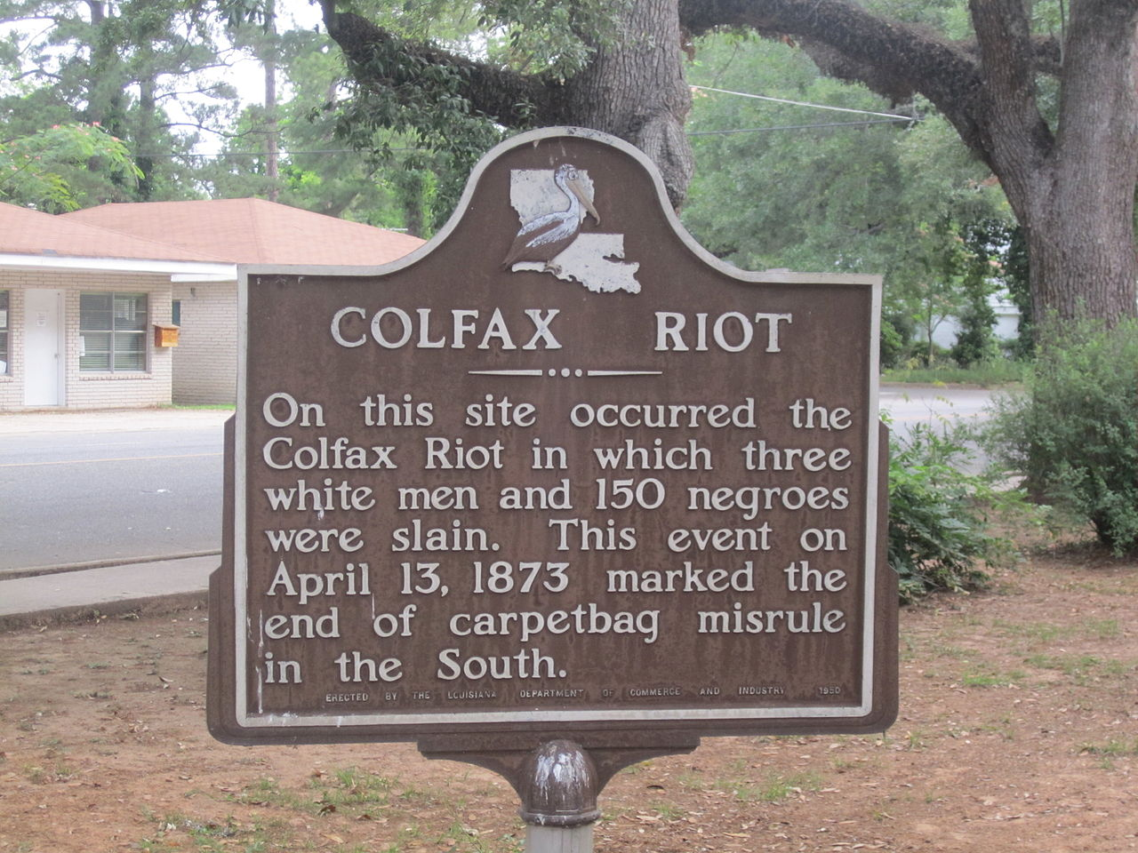 A Louisiana state wayside marker blames