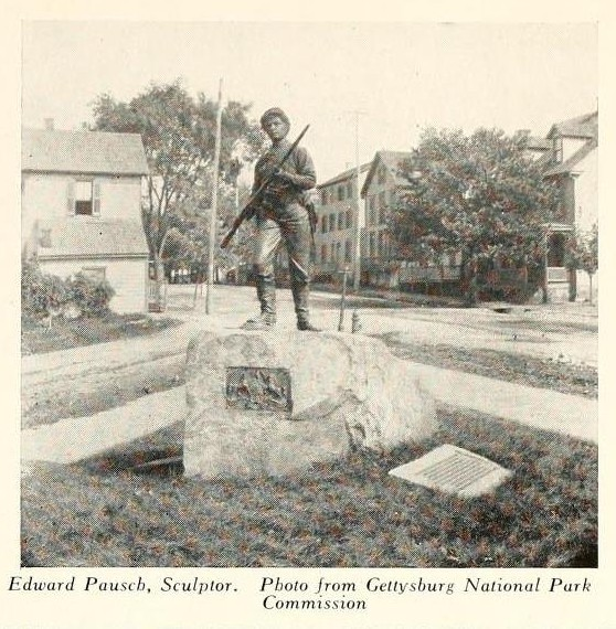 An image of the 26th Pennsylvania Emergency Militia Regiment memorial statue c. 1920. The statue is located in Gettysburg at the intersection of Chambersburg Street, Buford Avenue, and Springs Avenue. Wikimedia Commons.