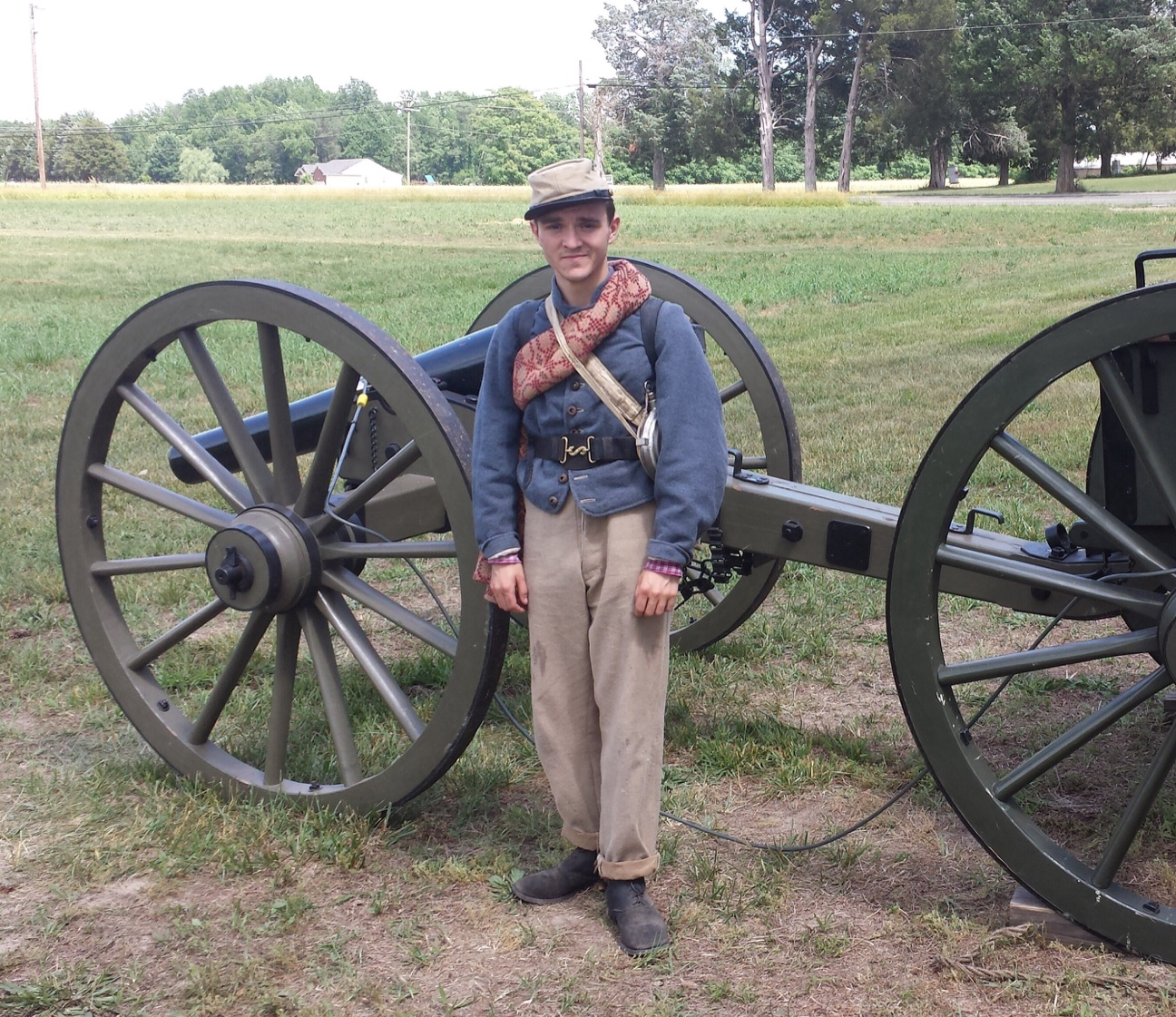 The author posing in the uniform of a Confederate soldier. Photo Courtesy of Jesse Campana