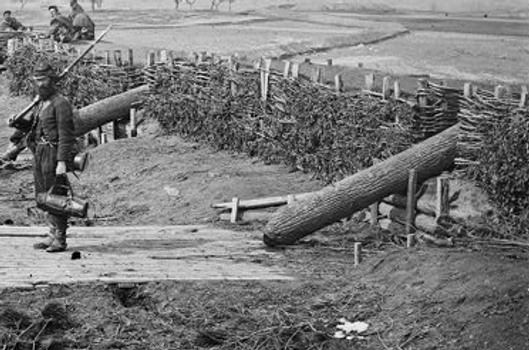 """""""Quaker guns"""" were used to deceive enemy forces during the Civil War. These wooden logs were not dangerous but looked like cannon from a distance. Photo courtesy of civilwar.org"""
